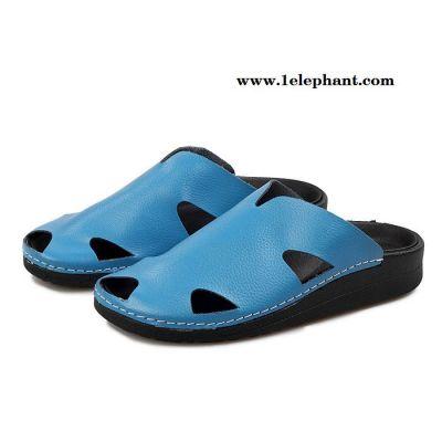 新款2015夏季真品休闲男士皮凉鞋 男透气增高沙滩拖鞋男