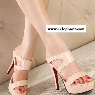 夏季新款欧美时尚性感超高跟拖鞋女鞋夜店细跟凉鞋超高跟女鞋