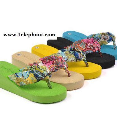 热卖夏季新款拖鞋坡跟棉的厚底高跟人字拖夹趾凉拖松糕凉拖鞋女夏