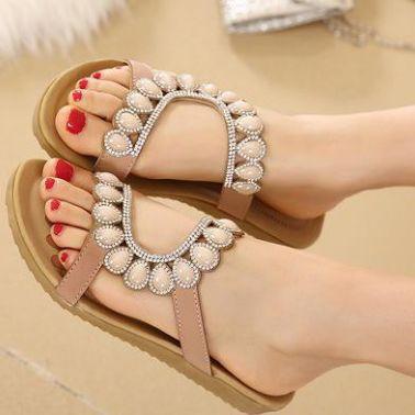 2015夏季新款女士凉拖 性感水钻平底坡跟拖鞋 休闲鞋 37