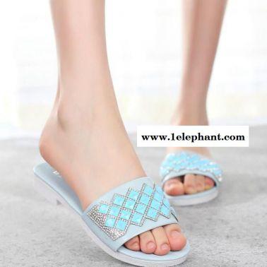 2015新款韩版水钻沙滩凉拖鞋平跟平底舒适女凉鞋拖鞋子代发