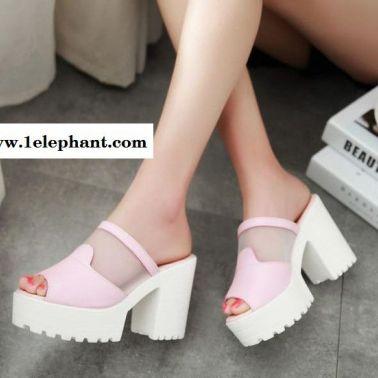 夏季新款凉鞋韩版网纱鱼嘴凉拖厚底粗跟超高跟拖鞋凉拖鞋代理