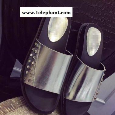 拖鞋女夏2015韩版新款中跟时尚铆钉厚底松糕底凉拖鞋X7