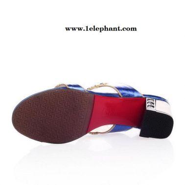 外贸2014夏季新款女鞋 欧美时尚潮流粗跟凉拖鞋 奢华水钻高