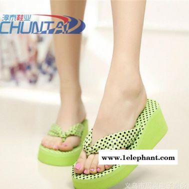 夏季女式人字拖 圆点高跟沙滩鞋 凉拖鞋 厚底休闲家居拖鞋