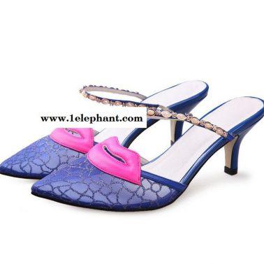 水钻链里外全皮夏季新款凉鞋 2015 网纱尖头中跟拖鞋街头潮鞋