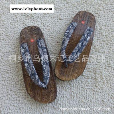 日本绅士和服烧桐男式木屐 复古蓝印花布木拖鞋人字拖鞋/夹脚拖