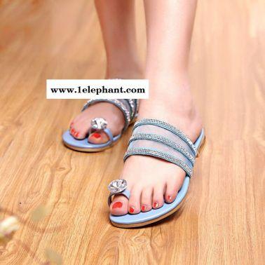 韩版时尚甜美可爱套指拖鞋 水钻装饰粉嫩糖果色纱网透气凉拖鞋女
