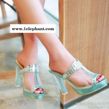 2015夏季新款凉拖鞋网纱高跟拖鞋鱼嘴水钻水晶跟防水台大小码