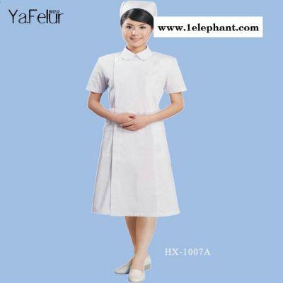医护制服 女款白大长褂圆领实验服女护士服短袖 药店实习生工作服