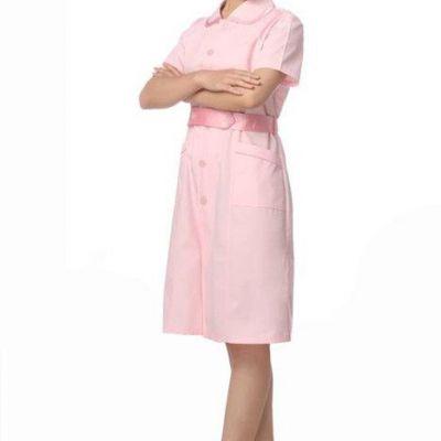 广州新款女护士服纯色简约长袖医院护士制服白大褂厂家订制