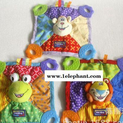 【新品】婴幼儿玩具批发 宝宝牙胶巾 正版Nuby安抚玩偶巾出口玩具