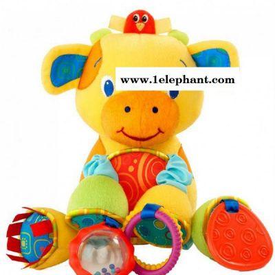批发外贸原单0-1岁宝宝玩具KIDS II黄色小牛摇铃牙胶床铃挂件