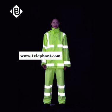雨豹牌UB-002**雨衣反光救援服分体雨衣套装荧光黄透气300D牛津布PU环保涂层高温压胶**防水雨衣 **骑行服