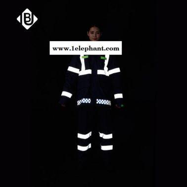 生产供应雨豹牌UB-006新式藏蓝色反光棉衣深黑色安全防护服冬款大衣冲锋衣加厚可拆卸内胆男女通用制式棉雨衣可印字
