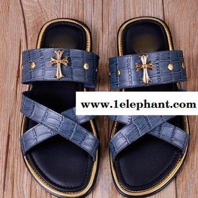 欧美 石头纹**男士交叉拖 休闲鞋套脚拖 新款男鞋 代理