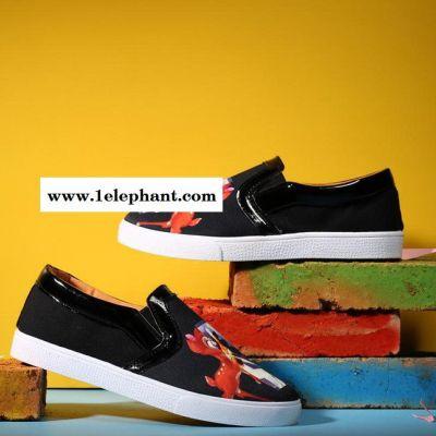 时尚热卖款3D彩绘丝光布男鞋乐福鞋套脚透气休闲鞋一脚蹬鞋