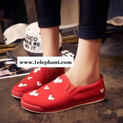 春季布鞋一脚蹬懒人鞋女厚底学生休闲板鞋套脚女鞋平底帆布鞋