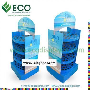 专业设计双面四层多孔带头牌防晒霜纸展示架 纸货架