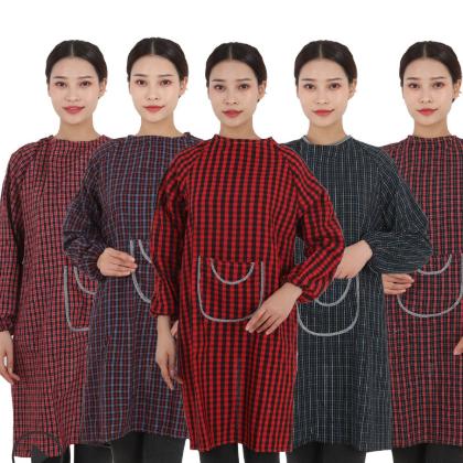 厂家直销纯棉加厚加大罩衣有袖围裙 纯棉围衣反穿衣 成人罩衣印字