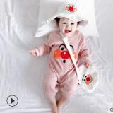 21年春新款 0-3岁男女宝宝长爬服新生儿坑条开肩扣可爱连体衣