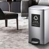 脚踏式不锈钢垃圾桶|全密封方形纸巾弃置桶|旧口罩回收桶|可定制