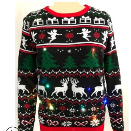 针织圣诞毛衣羚羊圣诞树提花毛衣带LED灯发光圣诞毛衣欧美毛衣
