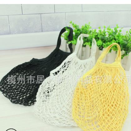 亚马逊热卖纯棉网袋手提式全棉袋子棉网袋超市蔬菜水果网兜购物袋