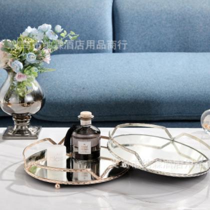 欧式轻奢金属镀银珠点方形托盘水果盘蛋糕盘烘焙派对KTV婚庆用品