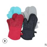 微波炉硅胶手套全棉厨房专用防烫耐高温手套加厚隔热微波炉手套