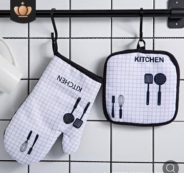 微波炉手套烘焙专用斜纹格子厨房加厚隔热防烫烤箱手套厂家