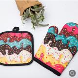 跨境微波炉手套两件套隔热垫加厚防烫耐高温烤箱厨房烘焙手套厂家