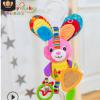 Happy Monkey婴儿玩具0-1岁车挂动物床挂毛绒玩具摇铃安抚床铃