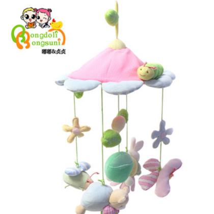 嘟嘟&贞贞厂家 布艺代理婴儿玩具新生儿音乐床铃转转乐毛绒床挂