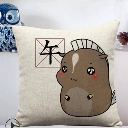 批发定制十二生肖卡通 沙发靠垫坐垫来图logo定制棉麻含芯抱枕