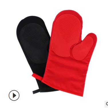 定制厨房微波炉手套 硅胶手套隔热耐高温 BBQ加厚手套厂家直销