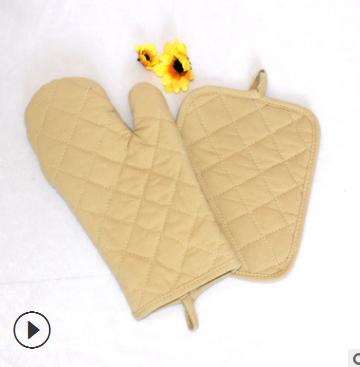 全棉微波炉手套 居家隔热烤箱手套加厚防烫 厨房烘焙耐高温手套