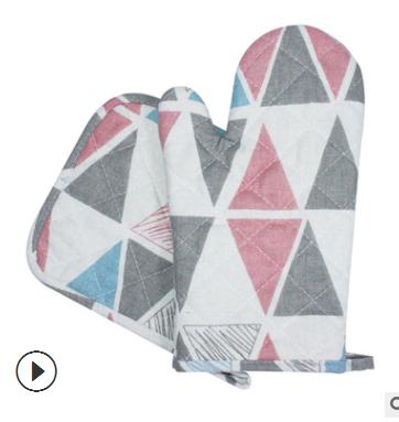 北欧风微波炉手套棉麻 加厚隔热烤箱手套 厨房防烫烘焙手套两件套