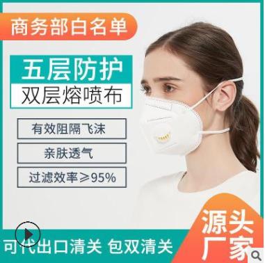 KN95带呼吸阀口罩头戴式防雾霾黑色 N95工业防尘口罩厂家现货FFP2