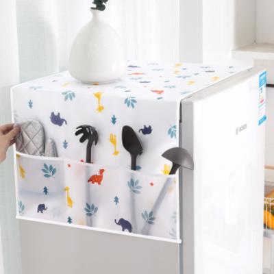 PEVA防水冰箱防尘罩 收纳防尘多功能冰箱罩 家用印花冰箱罩挂袋