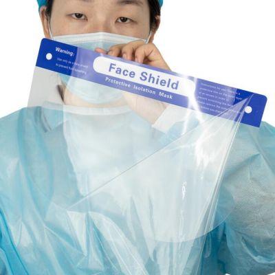 现货防护面屏透明护目面罩防飞沫中英文隔离防護一次性面罩片