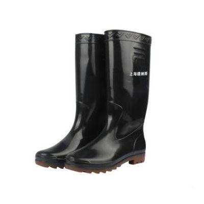 厂家上海双钱139黑筒耐酸碱雨鞋加厚防滑批发洗车鞋平底高筒雨靴