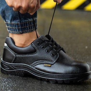 劳保鞋男士夏季透气轻便透气钢包头防砸防刺穿防臭牛皮工地工作鞋