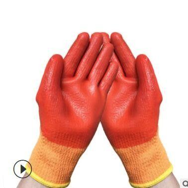 全浸胶pvc手套加绒毛圈发泡耐磨防水冷库工作保暖手套厂家批发