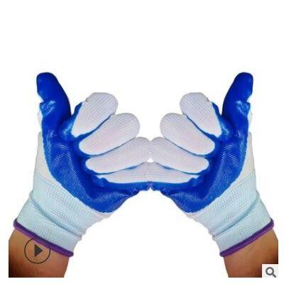 夏季劳保挂胶手套 蓝色丁腈睛挂胶手套丁青耐油防水工作防护工厂