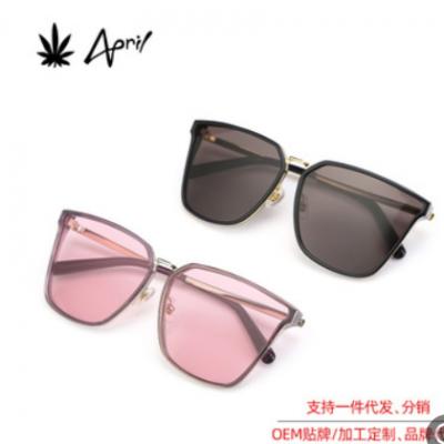 夏季新款太阳镜 明星同款时尚方框大脸偏光金属框架防紫外线墨镜